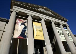 Banners hang outside the Baltimore Museu