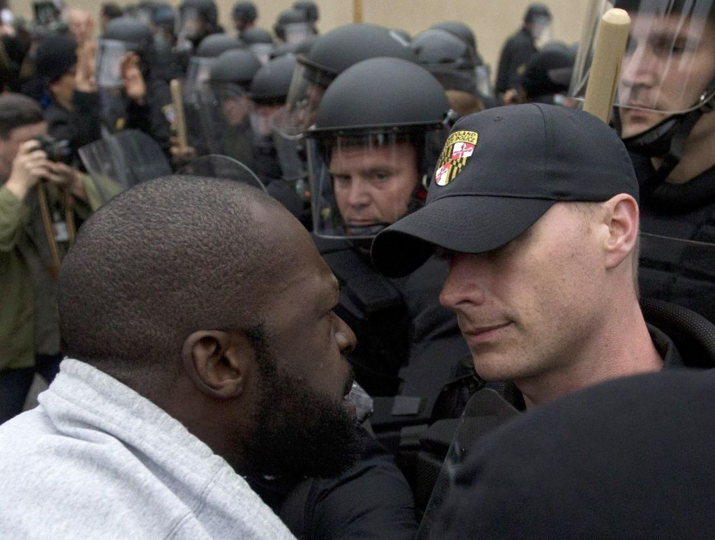 Angry Freddie Gray protester