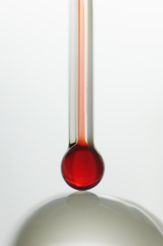 Thermometer and glass ball