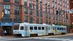 MTA Light Rail public transportation train in the streets of Baltimore