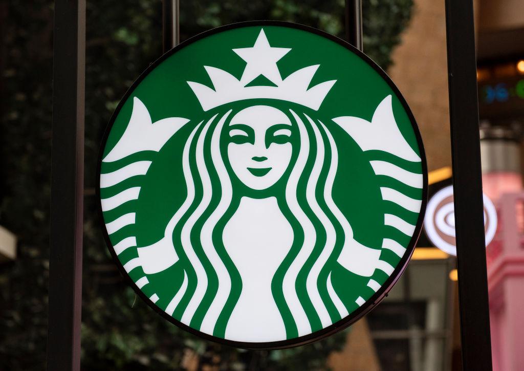American multinational chain Starbucks Coffee logo seen at...