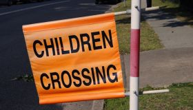 'Children Crossing' traffic flag displayed beside a road