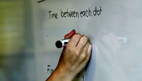HIGH SCHOOL - Generic pic of a teacher writing on a whiteboard at school , pen ,
