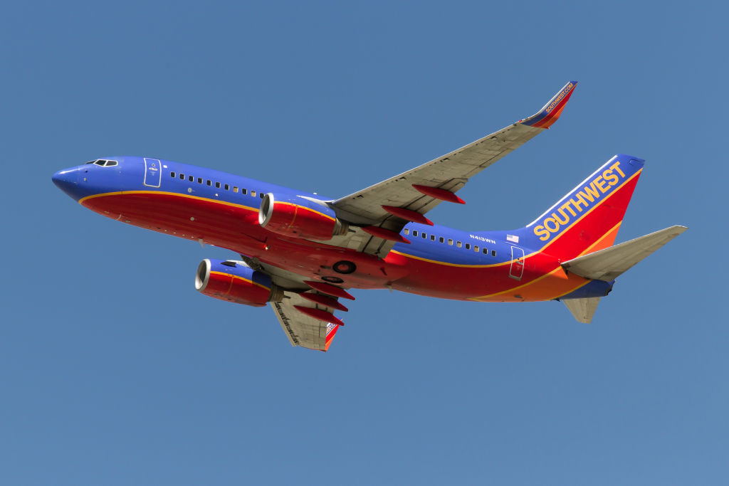 A Southwest Airlines Boeing 737-700 takes off from Los...
