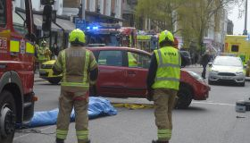 A car flips in an road traffic accident on Kings Road
