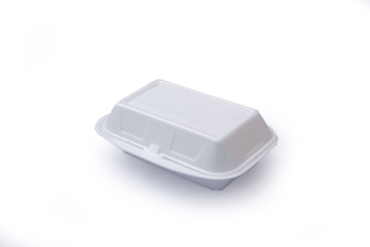 High Angle View Of Disposable Container On White Background