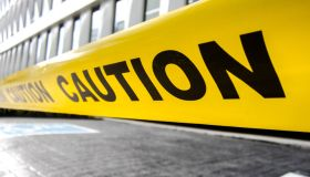 Caution yellow tape sign outdoor