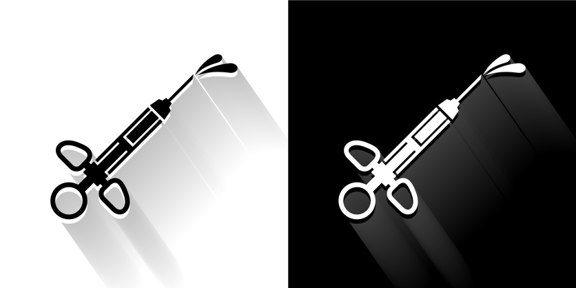 Medical Syringe Black and White Icon with Long Shadow