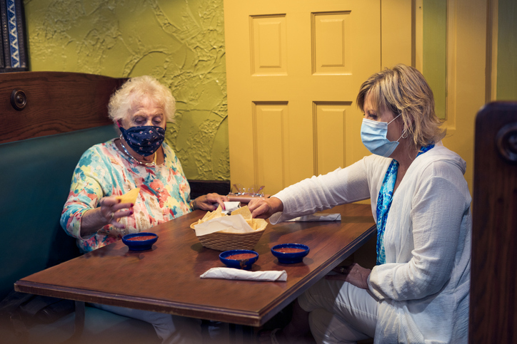 Dining in face masks
