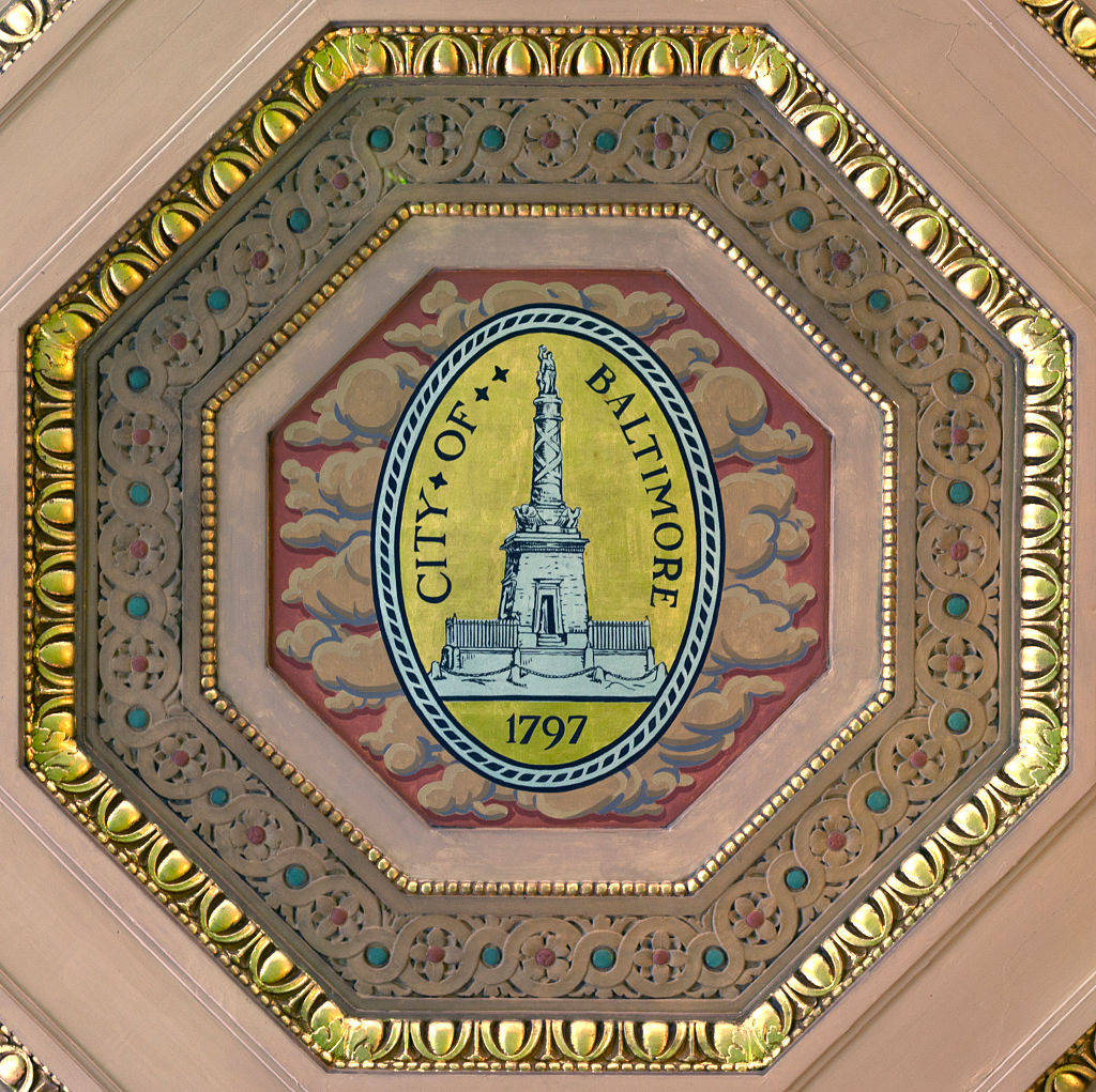 Ceiling detail, City of Baltimore seal, at the William H. Welch Medical Library, the library of the