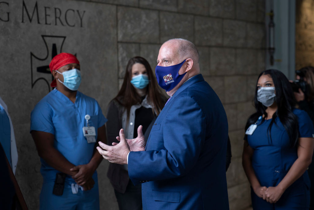 Gov Hogan presents proclomation at Mercy Medical Center in Baltimore
