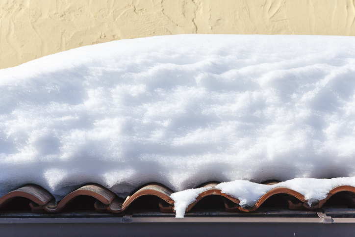 Roofs covered with snow.