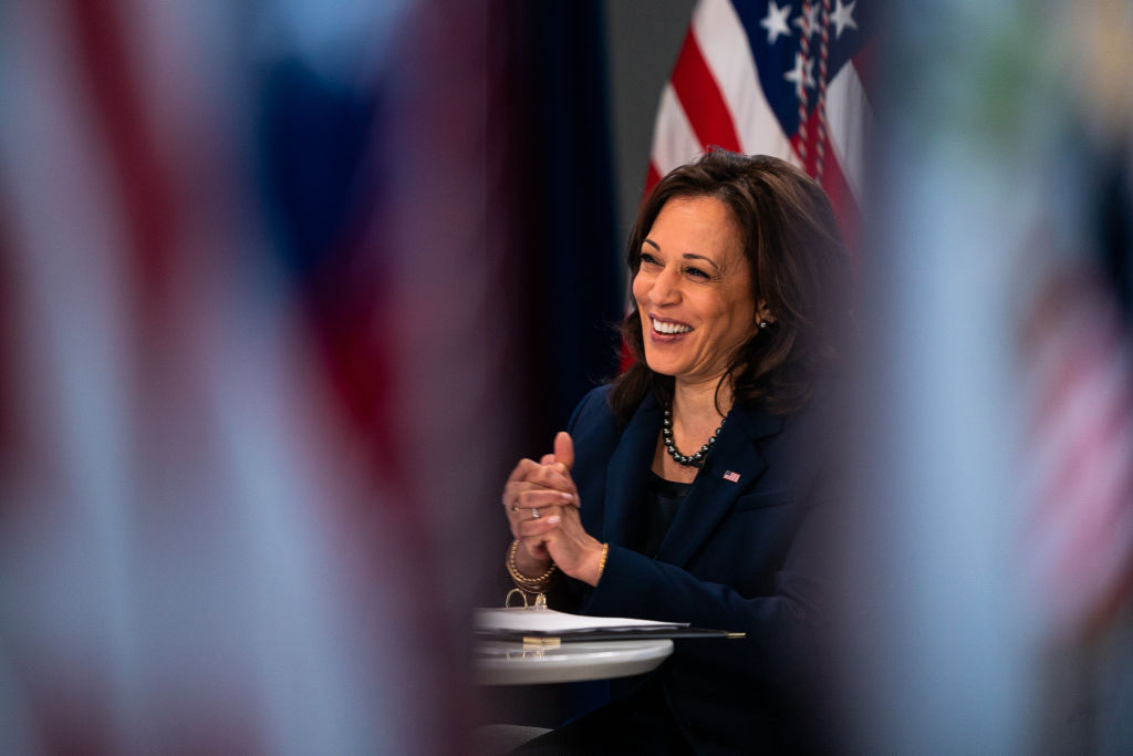 Vice President Kamala Harris meets with the founding members of the COVID-19 Community Corps