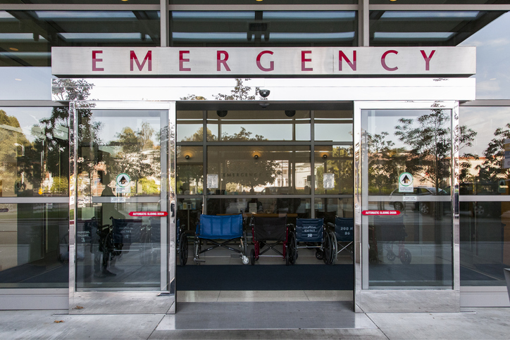 Sliding doors of emergency room in hospital