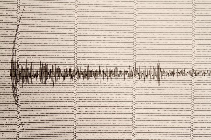 seismograph with earthquake indication