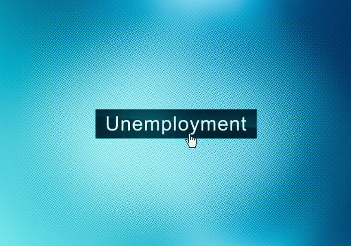 Unemployment text on computer screen