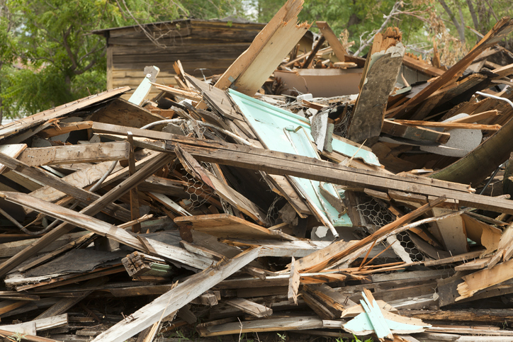 Demolished Building, Pile of Rubble, Natural Disaster